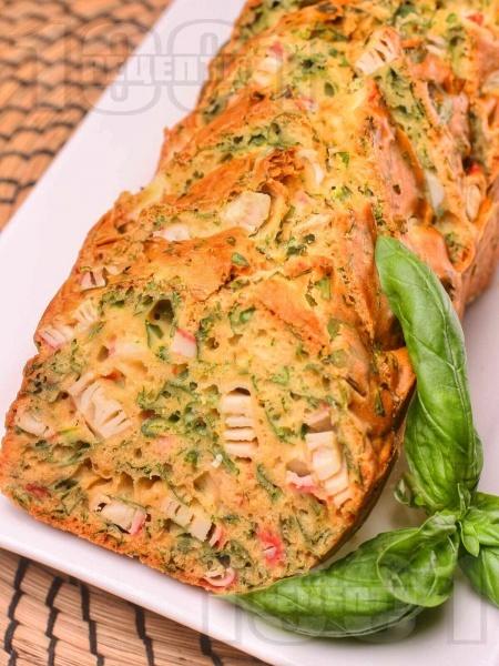 Солен кекс с пресен спанак и ролца от раци - снимка на рецептата